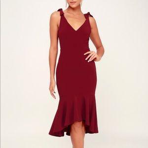 Lulu's Bodycon Midi Dress Burgundy